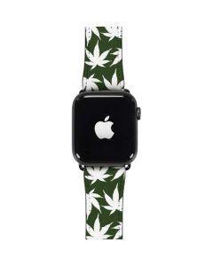 Marijuana Leaf White Pattern Apple Watch Band 42-44mm