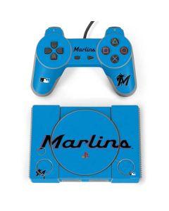 Miami Marlins Solid Distressed PlayStation Classic Bundle Skin
