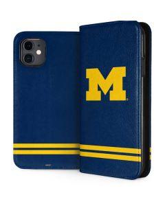 Michigan Logo Striped iPhone 11 Folio Case