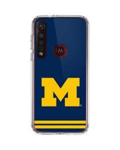 Michigan Logo Striped Moto G8 Plus Clear Case