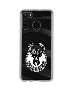 Milwaukee Bucks Animal Print Black Galaxy A21 Clear Case
