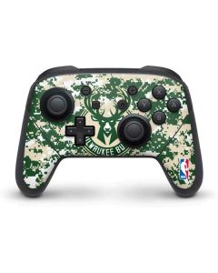 Milwaukee Bucks Camo Digi Nintendo Switch Pro Controller Skin
