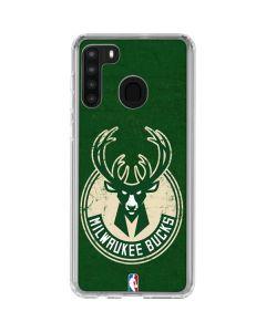Milwaukee Bucks Green Distressed Galaxy A21 Clear Case