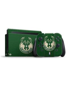 Milwaukee Bucks Green Distressed Nintendo Switch Bundle Skin
