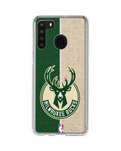Milwaukee Bucks Split Canvas Galaxy A21 Clear Case