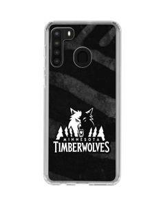 Minnesota Timberwolves Black Animal Print Galaxy A21 Clear Case