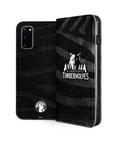 Minnesota Timberwolves Black Animal Print Galaxy S20 Folio Case