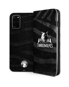 Minnesota Timberwolves Black Animal Print Galaxy S20 Plus Folio Case