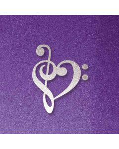 Purple Glitter Musical Heart Galaxy Note 9 Waterproof Case