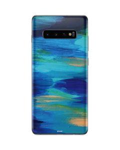 Ocean Blue Brush Stroke Galaxy S10 Plus Skin