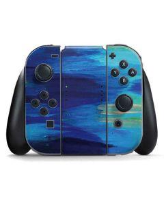 Ocean Blue Brush Stroke Nintendo Switch Joy Con Controller Skin