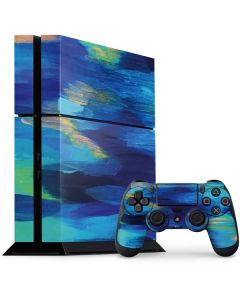 Ocean Blue Brush Stroke PS4 Console and Controller Bundle Skin