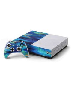 Ocean Blue Brush Stroke Xbox One S Console and Controller Bundle Skin