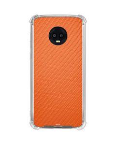Orange Carbon Fiber Moto G6 Clear Case