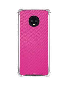 Pink Carbon Fiber Moto G6 Clear Case
