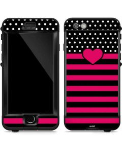 Polka Dots and Stripes Heart in Pink LifeProof Nuud iPhone Skin