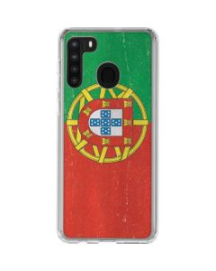 Portugal Flag Distressed Galaxy A21 Clear Case