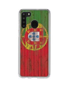 Portuguese Flag Dark Wood Galaxy A21 Clear Case