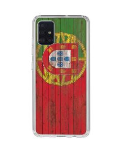 Portuguese Flag Dark Wood Galaxy A71 Clear Case
