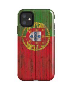 Portuguese Flag Dark Wood iPhone 11 Impact Case