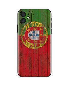 Portuguese Flag Dark Wood iPhone 11 Skin