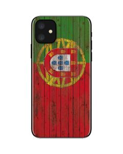 Portuguese Flag Dark Wood iPhone 11 Skin
