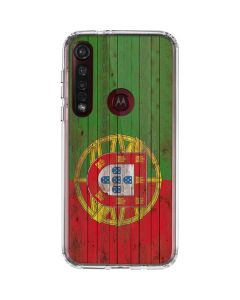 Portuguese Flag Dark Wood Moto G8 Plus Clear Case