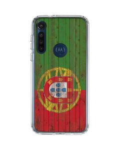 Portuguese Flag Dark Wood Moto G8 Power Clear Case