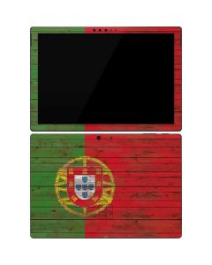 Portuguese Flag Dark Wood Surface Pro 7 Skin