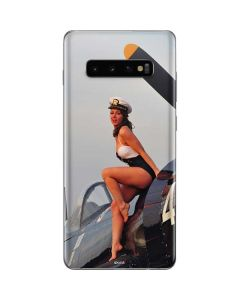 1940s Navy Pin-Up Girl On Corsair Fighter Plane Galaxy S10 Plus Skin