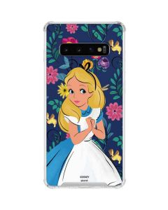 Alice in Wonderland Floral Print Galaxy S10 Clear Case