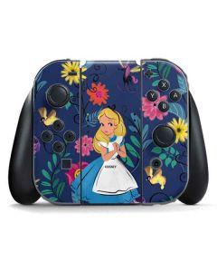 Alice in Wonderland Floral Print Nintendo Switch Joy Con Controller Skin