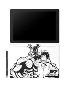 All Might and Deku Black And White Galaxy Book 12in Skin