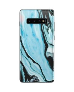 Aqua Blue Marble Ink Galaxy S10 Plus Skin