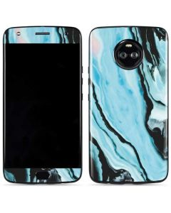 Aqua Blue Marble Ink Moto X4 Skin