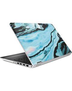 Aqua Blue Marble Ink HP Pavilion Skin