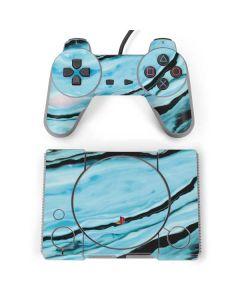 Aqua Blue Marble Ink PlayStation Classic Bundle Skin