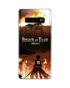 Attack On Titan Fire Galaxy S10 Plus Skin