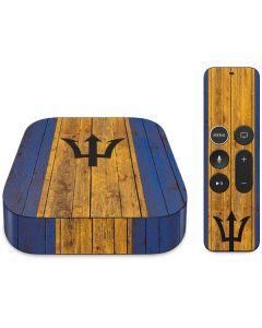 Barbados Flag Dark Wood Apple TV Skin