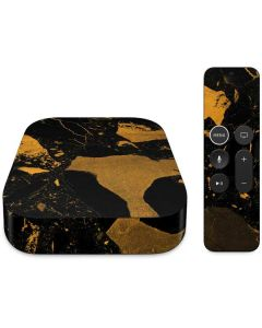 Black and Gold Scattered Marble Apple TV Skin