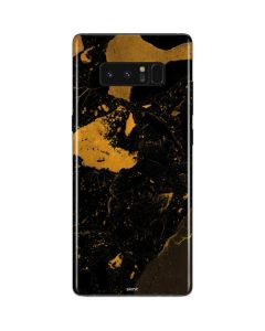 Black and Gold Scattered Marble Galaxy Note 8 Skin