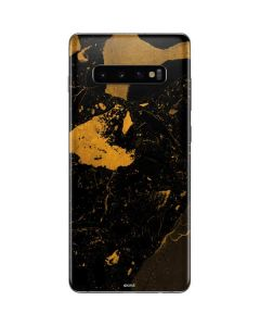 Black and Gold Scattered Marble Galaxy S10 Plus Skin