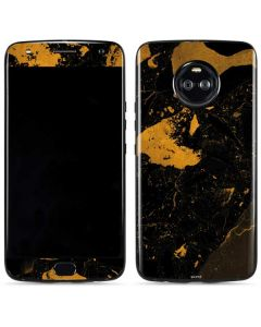 Black and Gold Scattered Marble Moto X4 Skin