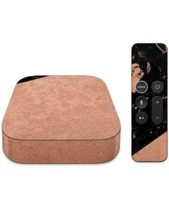 Black and Rose Gold Marble Split Apple TV Skin