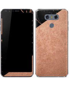 Black and Rose Gold Marble Split LG G6 Skin