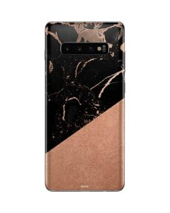 Black and Rose Gold Marble Split Galaxy S10 Plus Skin
