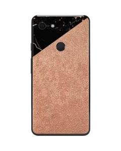 Black and Rose Gold Marble Split Google Pixel 3 XL Skin