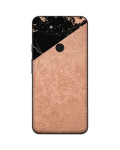 Black and Rose Gold Marble Split Google Pixel 3a Skin