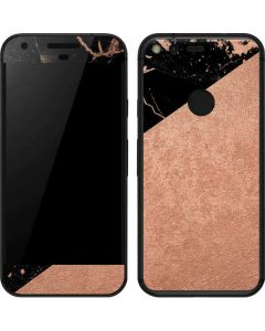 Black and Rose Gold Marble Split Google Pixel Skin