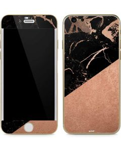 Black and Rose Gold Marble Split iPhone 6/6s Skin